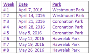 Thursday location schedule Spring 2016
